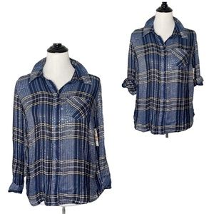 Style & Co Plaid Top Sequin Roll Tab Sleeve NEW